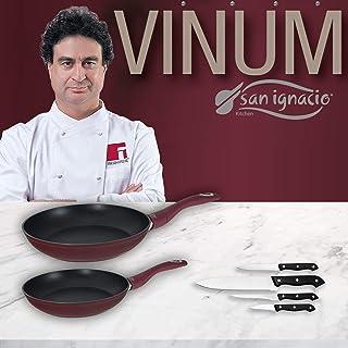 San Ignacio VINUM Set de Sartenes VINUM-Ø20/24 cms, Mango ergonómico Soft Touch Especial Gas y vitro Y Juego 4 Cuchillos de Cocina, Aluminio Forjado, Plateado