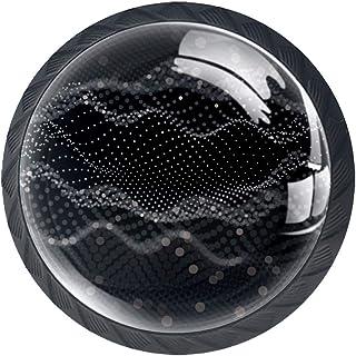 4 Stks Ladeknop, Kast Kast Handvat Trek Lade Handvat met Schroef,, Aark Abstract Grid