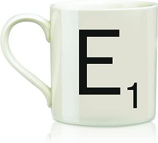 Scrabble Letter Ceramic E Scrabble Mug, Cream/Black (14 Ounces)