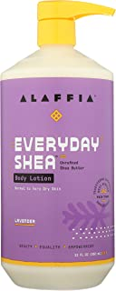 Alaffia - Everyday Shea Body Lotion, Normal to Very Dry Skin, Moisturizing Support for Hydrated, Soft, and Supple Skin with Shea Butter and Lemongrass, Fair Trade, Lavender, 32 Ounces