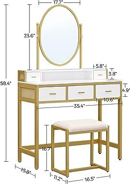 VASAGLE Makeup Vanity Table, Vanity Desk with Padded Stool, Vanity Set, Oval Mirror, 5 Drawers, for Bedroom, Dressing Room, M