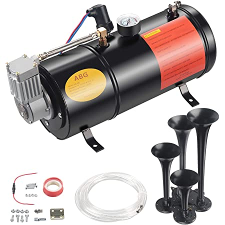 Flagup 150DB Train Air Horn Kit Most 12V Vehicles with Powerful 120 PSI Air Compressor Cars Van Boats 4 Trumpet Loud Train Horns Kit for Trucks