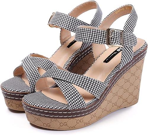 HBDLH Chaussures pour Femmes L'été Les étudiants épaisses Chaussures Bas en Treillis Un Mot avec Toe La Pente Et Creux Les Sandales.