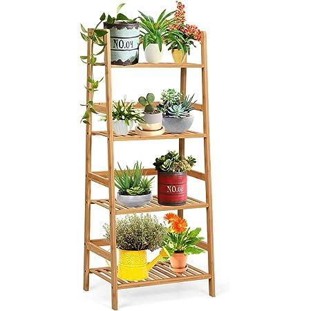 Flower Shelf Display Unit Modern Design Stair Bookshelf Storage Shelf for Living Room Wooden Plant Holder 4 Layers Flower Ladder Foldable Plant Shelf brown Balcony White Bathroom Garden