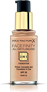Max Factor Facefinity All Day Flawless, Liquid Foundation, 3-in-1, 055 Beige, 30ml