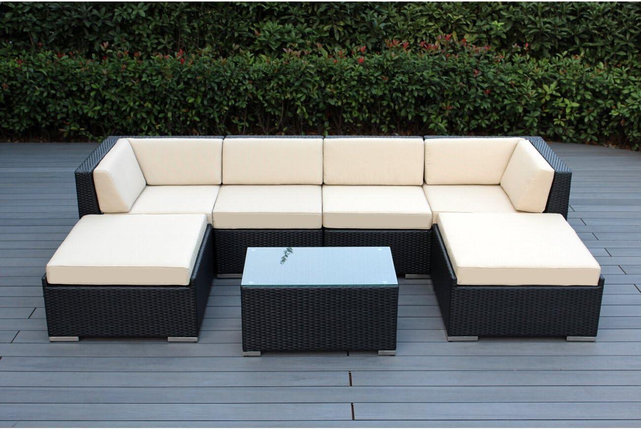 Ohana 7-Piece Patio Wicker Sectional Sofa Set with Cover, Beige