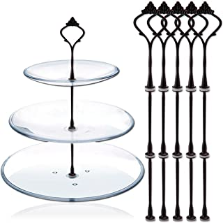 Happy Will 5 Sets 3 Tier Crown Cake Stand Fruit Cake Plate Handle Fitting Hardware Rod Stand Holder with Stylus Black (Plates Not Include)