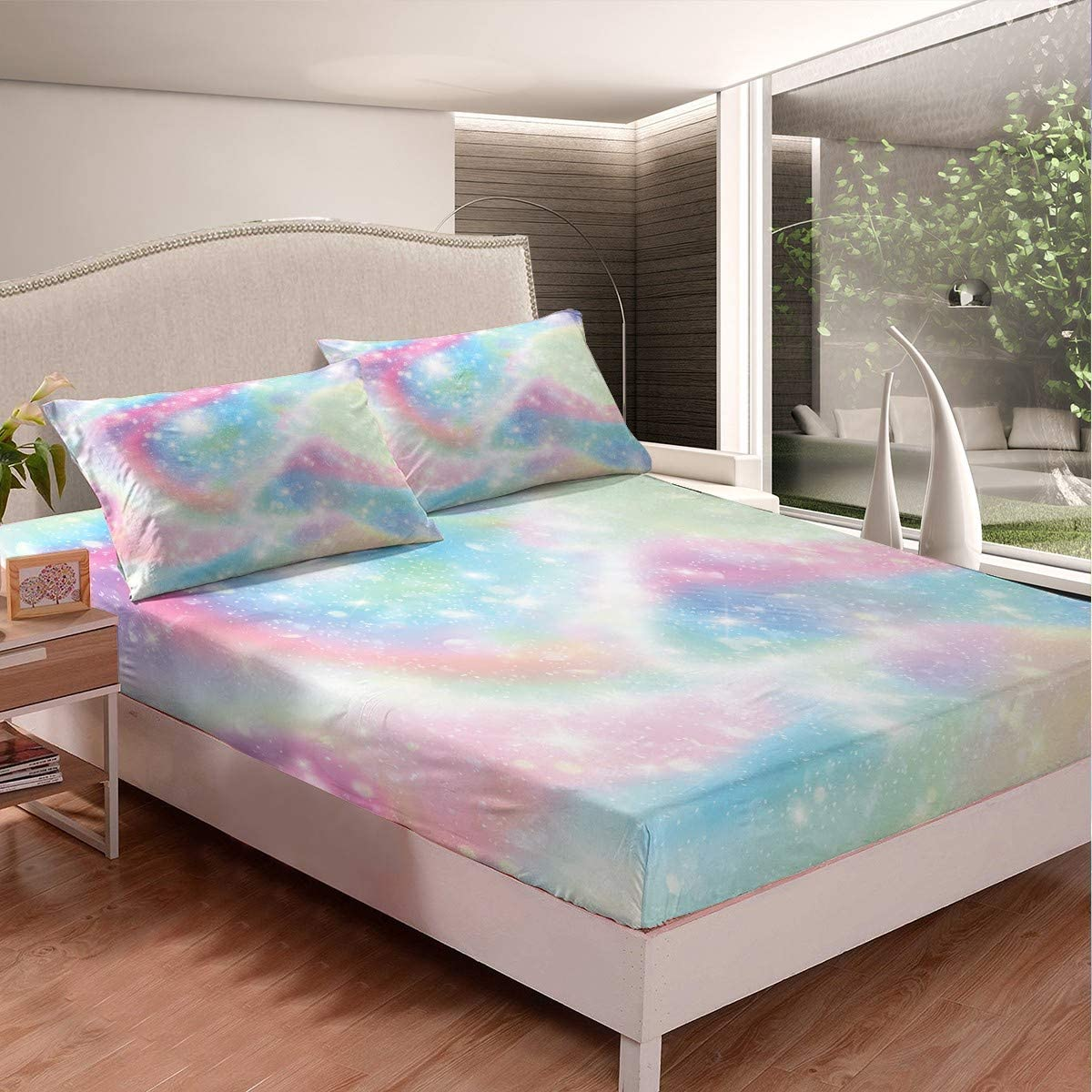 Homewish Galaxy Fitted Sheet Sweet Girls 2 Set Bedding 3pcs Ranking TOP17 Max 48% OFF with