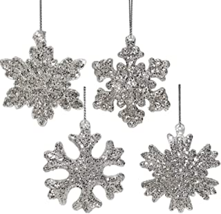 BANBERRY DESIGNS Glass Snowflake Ornaments - Set of 4 Silver Glitter Covered Glass Christmas Ornaments Assorted Flake Styles – Boxed Holiday Tree Decorations