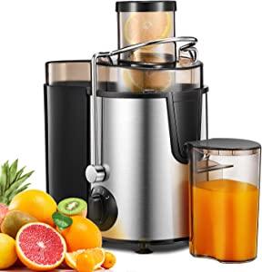 """Juicer Centrifugal Juicer Machine Wide 3"""" Feed Chute Juice Extractor Easy to Clean, Two Speed Control and Pulse Function, Stainless Steel, Silver"""