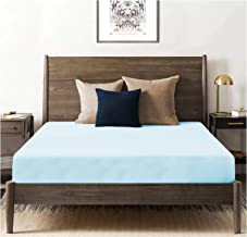 Tissaj Organic Cotton Fitted Sheet - 500 TC Thread Count Queen Size Ice Blue - Bedding - 100% GOTS Certified Extra Long St...