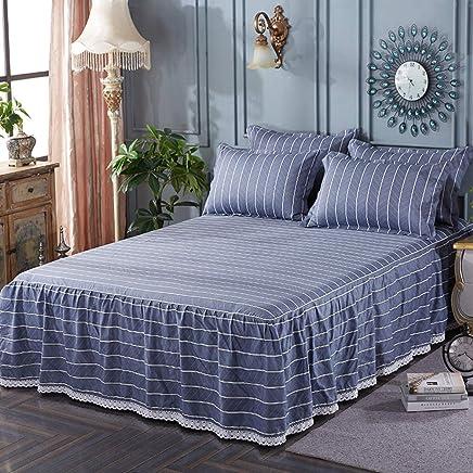 な 綿 弾性 ベッドスカート, キルティング ラップ レース トリミング ベッドカバー 簡単フィット ベッドスプレッ あなたの寝室で-F 150x200cm