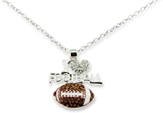 I Love Football Silver Crystal Heart Pendant Necklace Fashionable Jewelry for Girlfriend