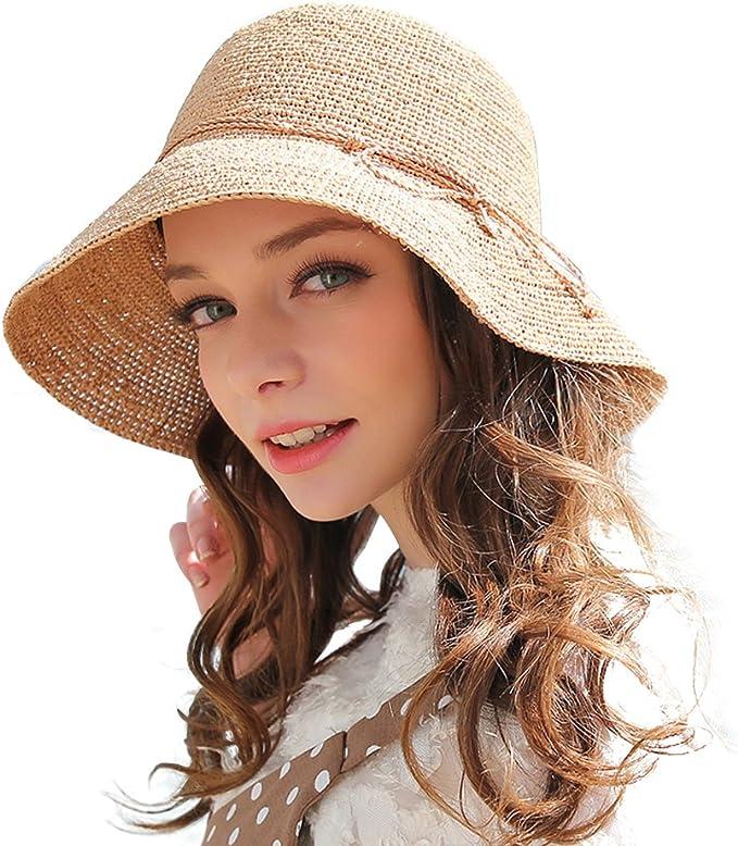 Hippie Hats,  70s Hats RIONA Womens Summer Hand-Woven Foldable Wide Brim Fisherman 100% Raffia Straw Sun Hat  AT vintagedancer.com