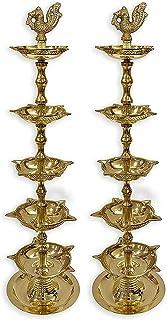 Craftsman 2pc of Handmade Brass Peacock Diya Deepak for Puja. Panchmahal Diya Oil Lamp Engraved 5 in 1 Adjustable 13 inch ...