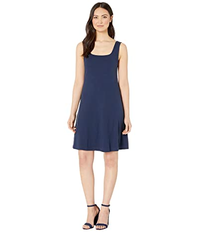 Three Dots Heritage Knit Double Square Neck Fit Flare Dress (Night Iris) Women