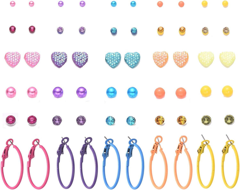 TRJJINUEL 30 Pairs Stud Earrings Set for Women Teens Fashion Simple Multicolor Love Pearl Rhinestones
