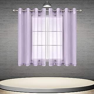 DONREN Lavender Purple Sheer Curtain Panels Short Ring Top Lilac Semi Sheer Draperies for Kids Room 2 Pack 52 W x 45 L