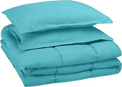 AmazonBasics Easy-Wash Microfiber Kid's Comforter and Pillow Cover Set (Pillow not included) - Full or Queen, Bright Aqua