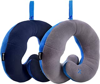 BCOZZY Chin Supporting Patented Travel Pillow - Prevents The Head from Falling Forward in Any Sitting Position, Providing Comfort and Support for The Neck and Head. Adult Size, Set of 2 (Navy + Gray)