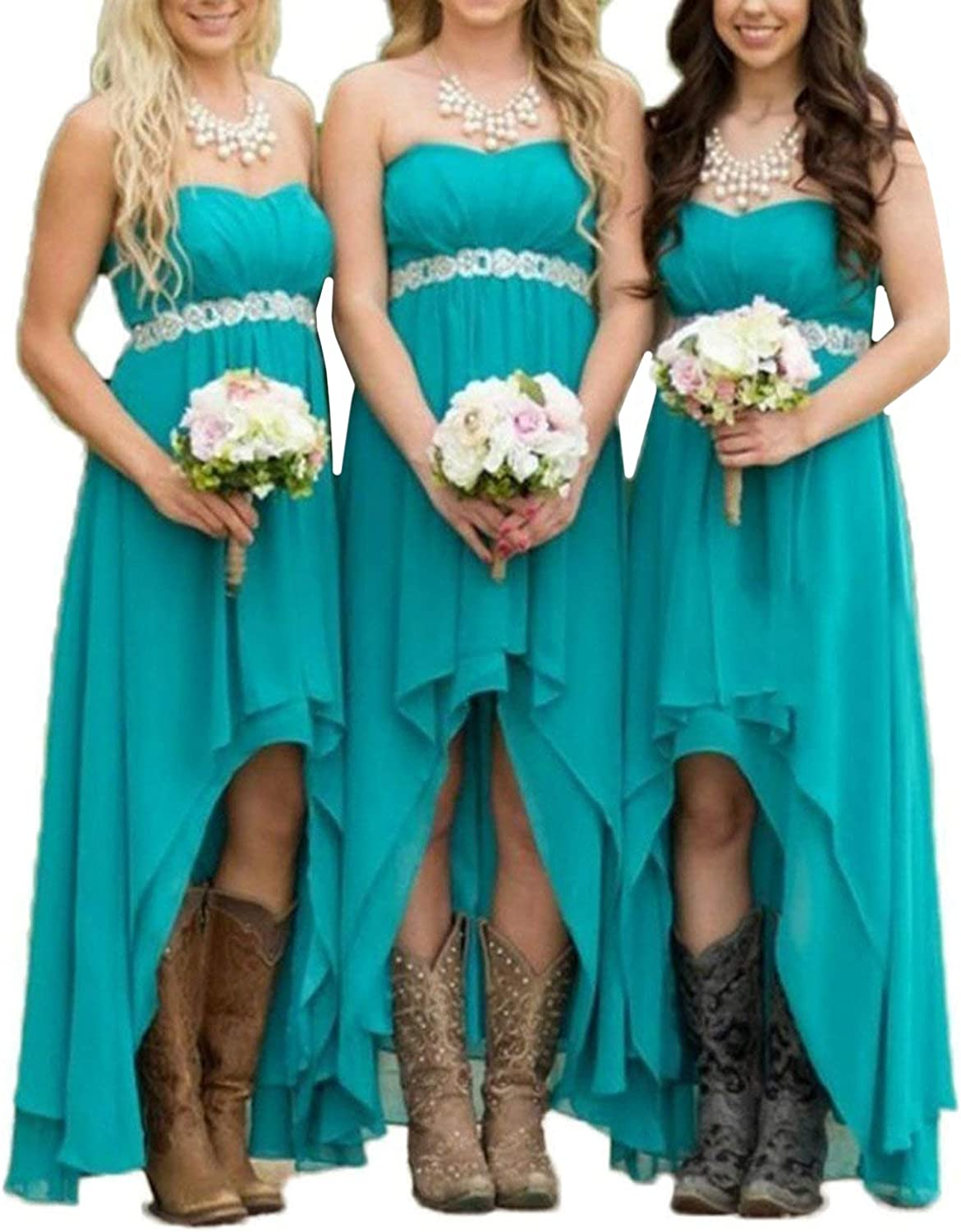 EUMI Chiffon Bridesmaid Dresses High Low Strapless Country Bridal Wedding Party Gowns