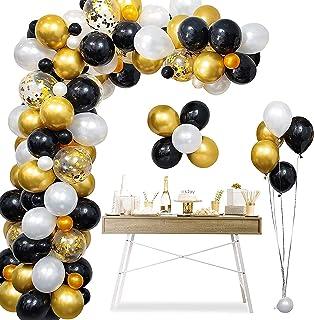 Mumoo Bear Balloon Arch Garland Kit, Black Gold Birthday Party Decoration, Confetti Balloon Latex Balloon and Tying Tool, ...