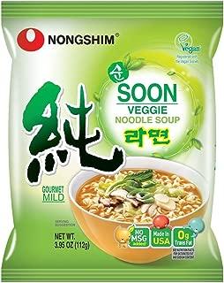 Nongshim Soon Veggie Noodle Soup, 3.95 Oz (112g) X4 Pkgs