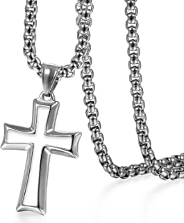 Stainless Steel Crucifix Cross Pendant Necklace, Black Silver Prayer Cross Necklace Chain for Men Women,22 inch