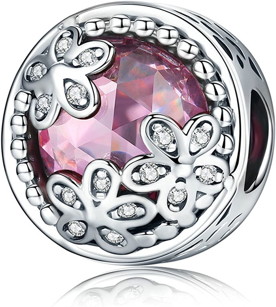 Daisy Flower Pink CZ 925 Sterling Silver Fits Outlet ☆ Free Shipping European 5% OFF Char Bead