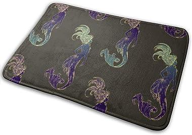 Abstract Mermaid Carpet Non-Slip Welcome Front Doormat Entryway Carpet Washable Outdoor Indoor Mat Room Rug 15.7 X 23.6 inch