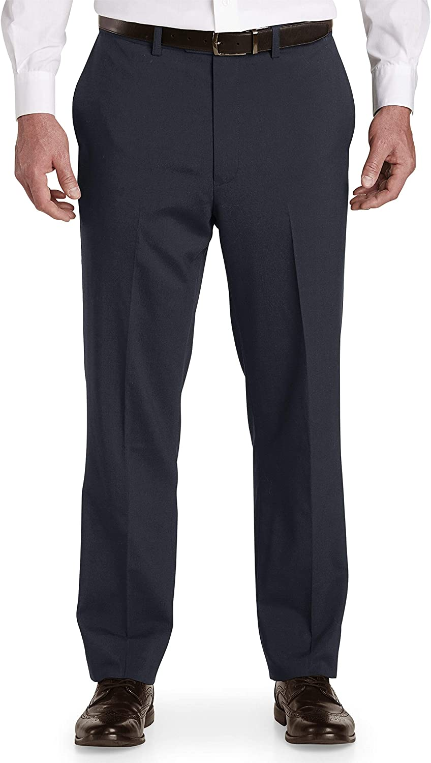 DXL Gold Series Big and Tall Waist-Relaxer Unfinished Flat-Front Suit Pants