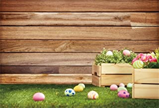 DaShan 5x3ft Polyester Photography Backdrop Happy Easter Day Colorful Eggs Fresh Grass Flowers Wooden Wall Backdrops for Photo Shoots Lovers Party Adult Kids Photo Background Studio Props