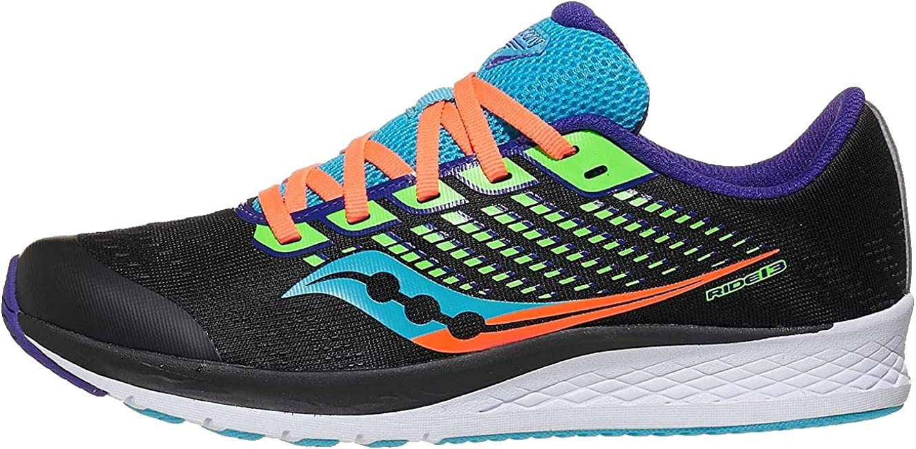 Saucony Popular brand in the world Same day shipping unisex child Ride 13 Sneaker Kid Big Green US Black 4