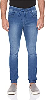 Lee Cooper Solid Denim Fashion Jogger for Men - Blue