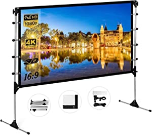 Projector Screen with Stand 120 inch 16:9 HD 4K Portable Indoor Outdoor Movie Screen Foladable Outdoor Projection Screens for Office,Home Theater, Backyard Movie