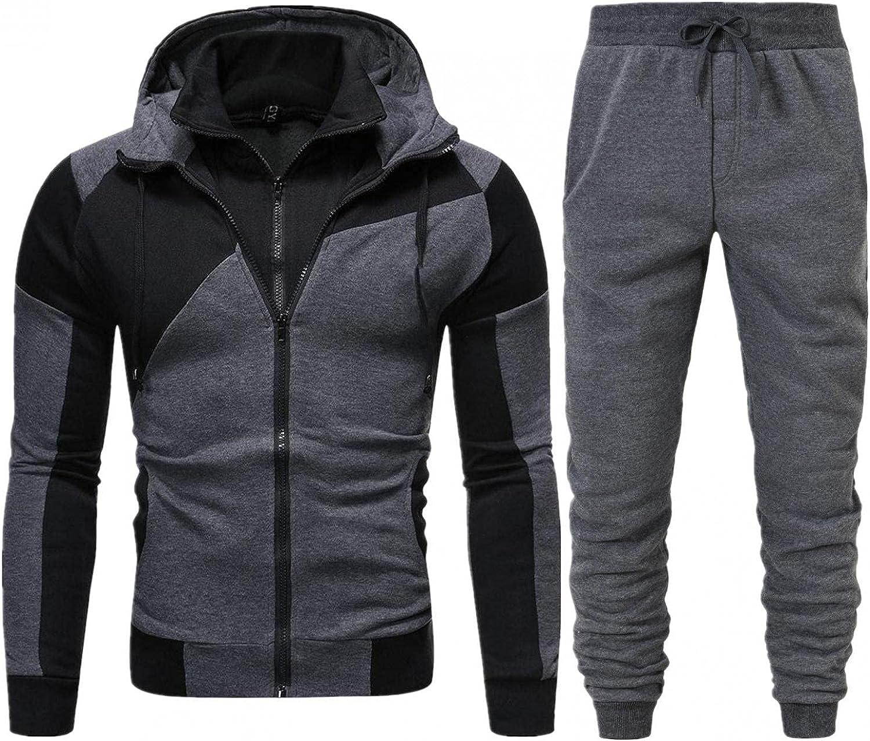 XUNFUN Mens Tracksuit Set 2 Piece Sweat Suits Casual Long Sleeve Full-Zip Color Block Hoodies Sweatshirts Jogger Sweatpants