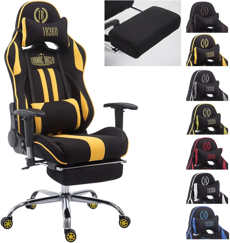 CLP Racing Bürostuhl Limit V2 mit Stoffbezug I Gamingstuhl mit Metallgestell I Schreibtischstuhl mit Laufrollen I erhltlich schwarz gelb, mit Fustütze