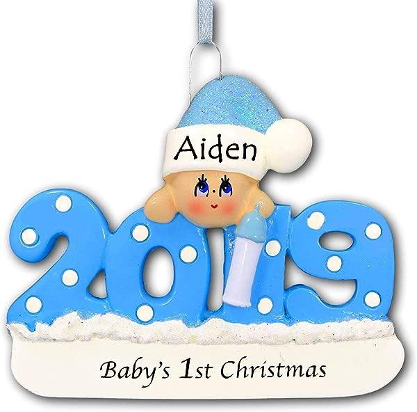 个性化的 2019 婴儿第一圣诞树装饰品第1 蓝色纪念品为男婴用圣诞老人长筒帽帽子和瓶子新妈妈婴儿淋浴免费名称定制蓝色