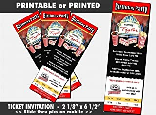Movie Night Birthday Party Ticket Invitation, Printable or Printed Option