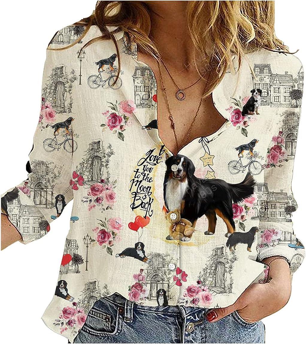 Bernese Mountain Dog Cotton Linen Shirt City Mix Moon Womens Long Sleeve Button Down Cotton Linen Shirt Blouse Loose Fit Casual V-Neck Tops Full Size