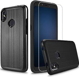 [Case + Screen Protector] BLU Advance A6 2018 Case, Compatible Case for Blu Vivo Go, BLU Studio Mega (2018) Case, [Tough Hybrid][Armor][Shockproof][Dual Layer][Drop Protection] Case (Black + SP)