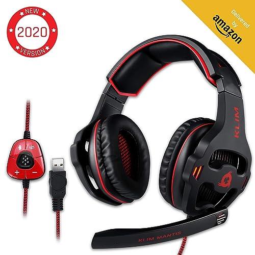 KLIM™ Mantis - Micro Casque Gamer - USB 7.1 - Haute Qualité - Ecouteurs pour Gaming PC PS4 - Noir - Nouvelle Version 2020