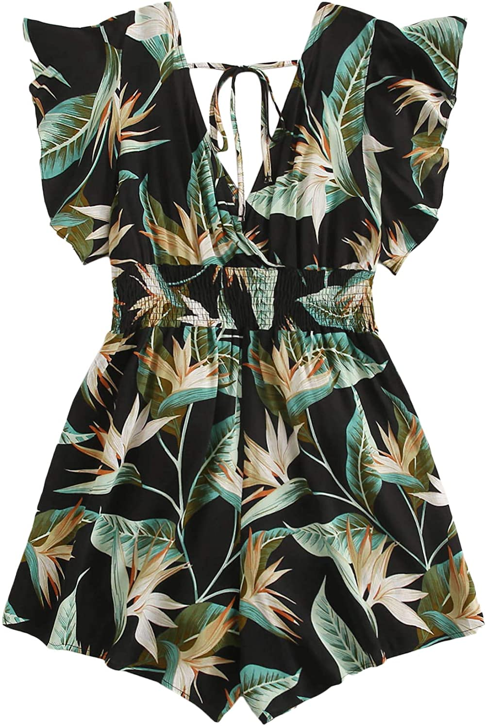 MakeMeChic Women's Plus Size Tropical Super popular specialty store Ruff Belted Back Tie NEW before selling ☆ Print