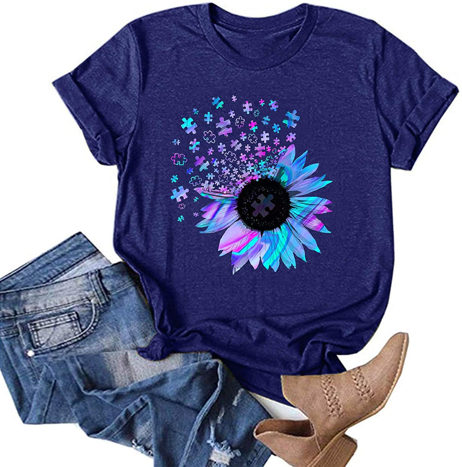 AODONG Womens Summer Tops Casual Short Sleeves Summer T-Shirts Sunflower Printing O Neck Blouse Graphic Tees Tops