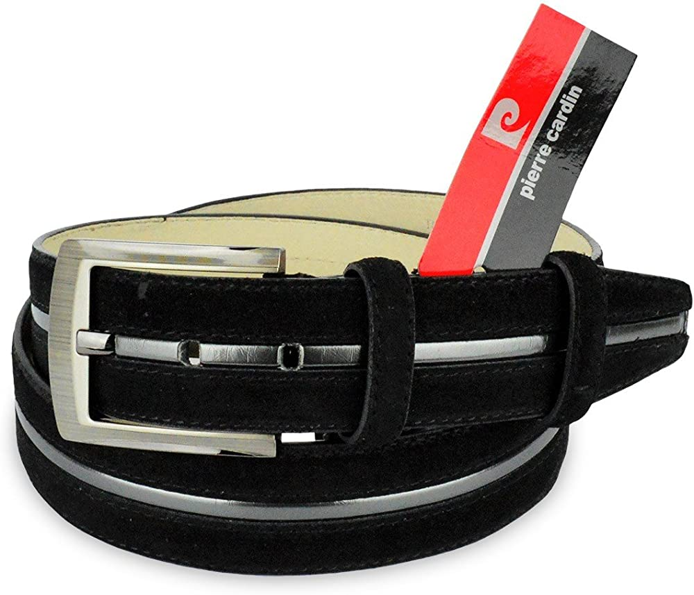 Pierre cardin,cintura regolabile per uomo,in pelle scamosciata R003 N