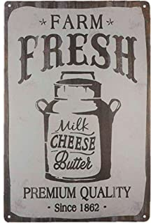 TISOSO Farm Fresh Milk Cheese Butter Novelty Metal Tin Signs Bar Restaurant Kitchen Home Decor Wall Art Retro Vintage Distressed Size 8