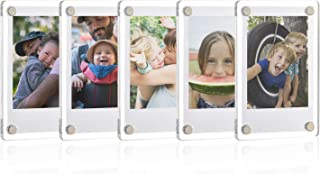 ONE WALL Acrylic Fridge Magnetic Frame, Double Sided Photo Refrigerator Magnet Picture Frame for Fujifilm Instax Mini, 2.36 x 3.54 Inch, Pack of 5
