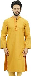 Men's Long Kurta Maroon Dupion Ethnic Bollywood Style Shirt