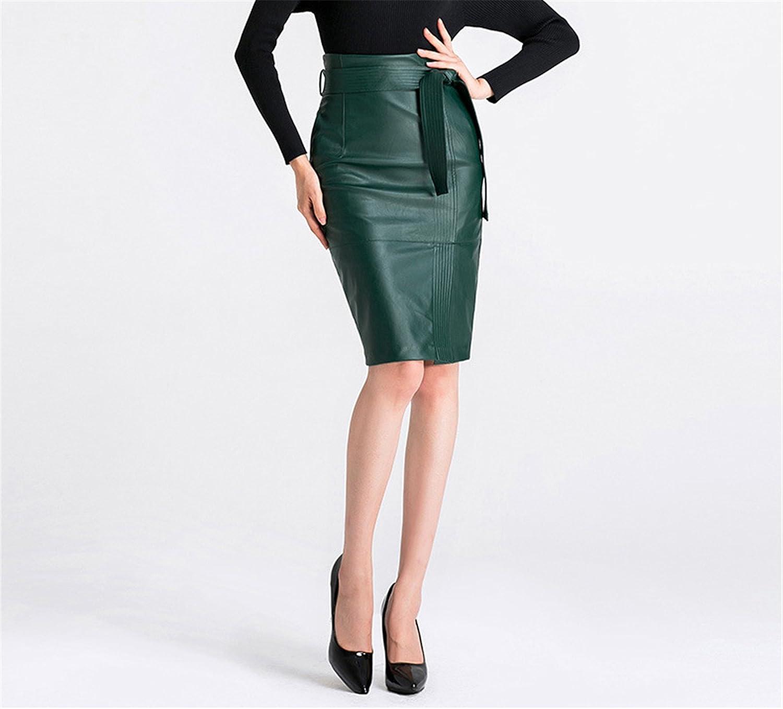 Dapengzhu High Waist PU Leather Skirt with Sash Autumn Elegant Zipper Short Black Green Skirts Womens 2136LY