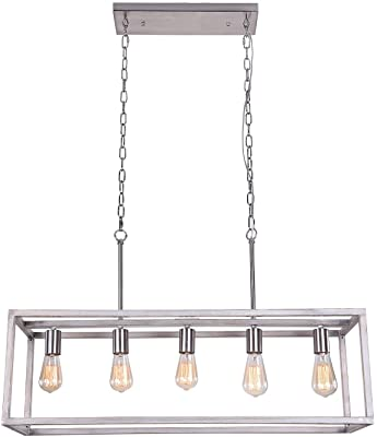 Amazon Com Home Decorators Collection 7965hdcdi Boswell Quarter 5 Light Brushed Nickel Island Chandelier Weathered Wood Accents Home Kitchen